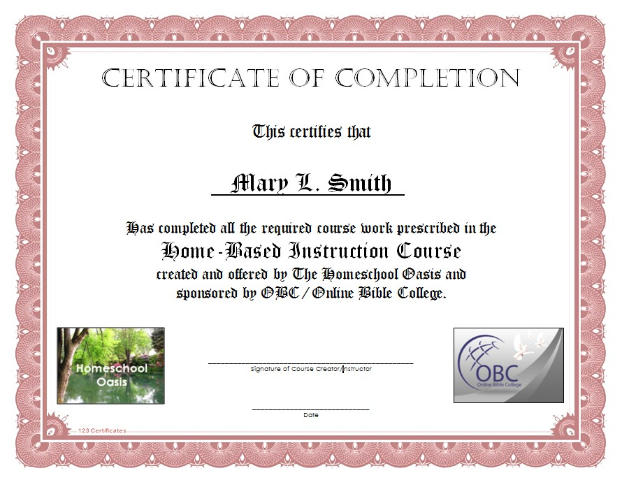 High School Certificate Of Completion Example Image Gallery  Hcpr